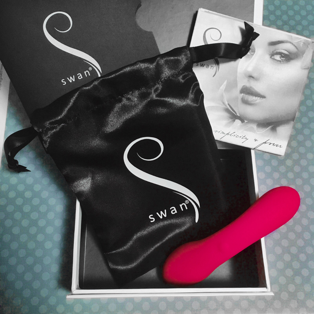 Photo of the contents of the Mini Swan Wand Packaging - vibrator, satin pouch, instruction manual