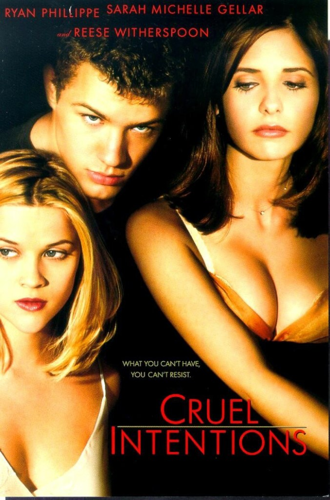 The Cruel Intentions poster, showing conspiratorial faces from Ryan Philippe and Sarah Michelle Gellar as they look down on an innocent looking Reece Witherspoon