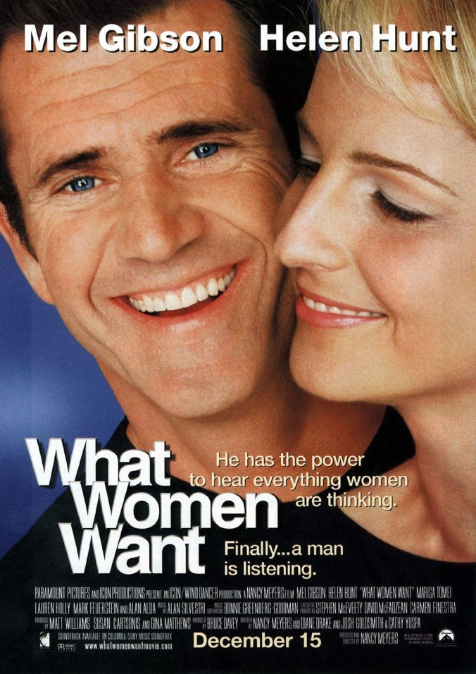 A poster for What Women Want showing Mel Gibson smiling forward with Helen Hunt looking passed him