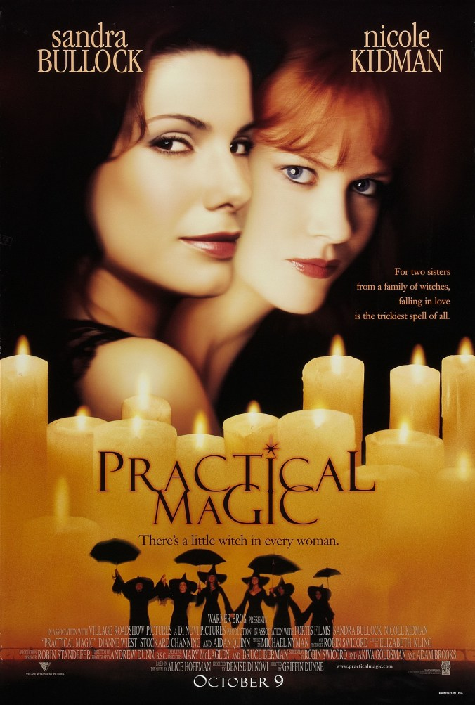 Practical Magic poster showing Bullock and Kidman looking out of the poster above a cluster of lit candles