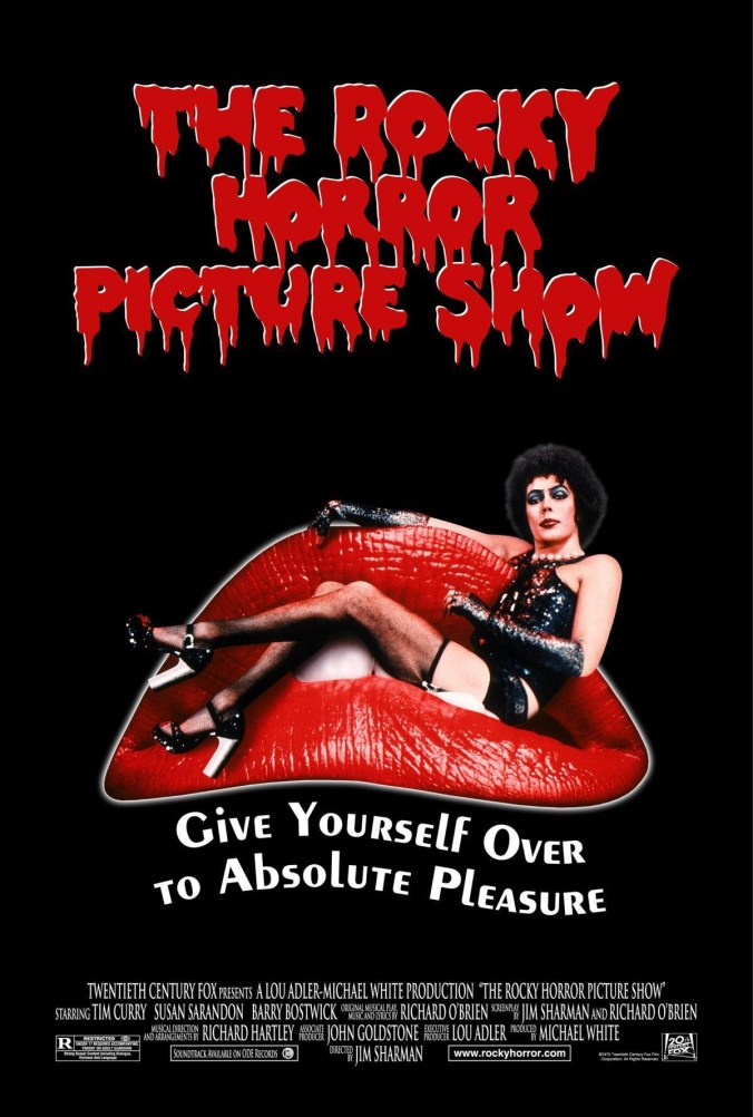 The poster from Rocky Horror showing Dr Frank N Furter sitting on a pair of red lips