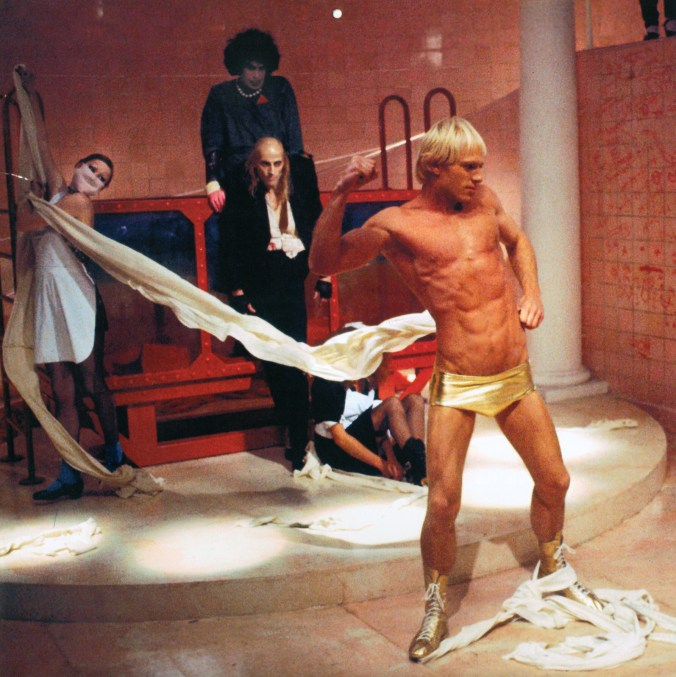 An image from Rocky Horror showing Rocky wearing gold hotpants