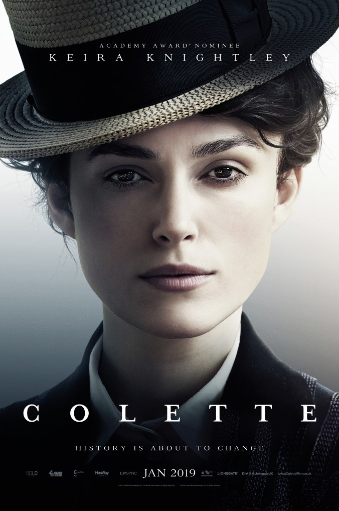 Poster for Colette, showing a determined looking Keira Knightley wearing a great hat!