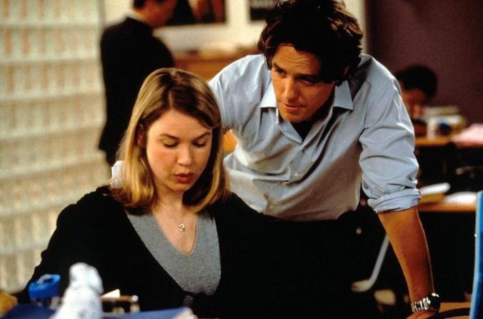 An image from Bridget Jones's Diary of Bridget and Daniel at work