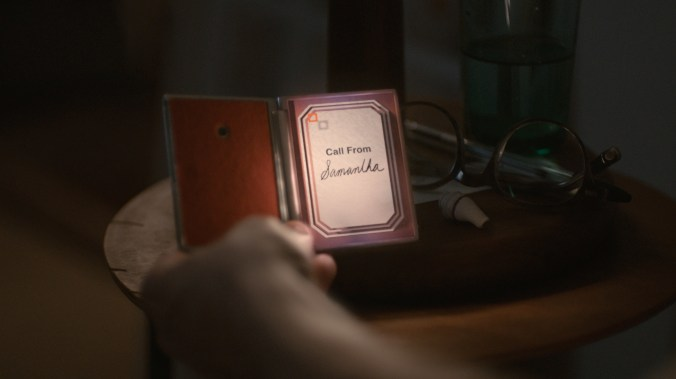 An image from Her showing a phone screen labelled 'Call from Samantha'