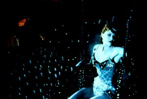 Satine as a sparkling diamond up above the floor of the Moulin Rouge