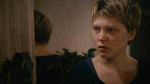 Emma, looking upset, from Blue is the Warmest Colour