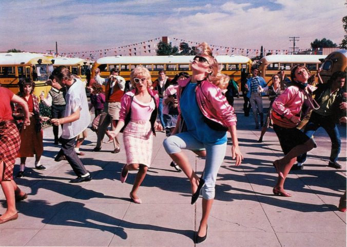 The Pink Ladies dancing in Grease 2