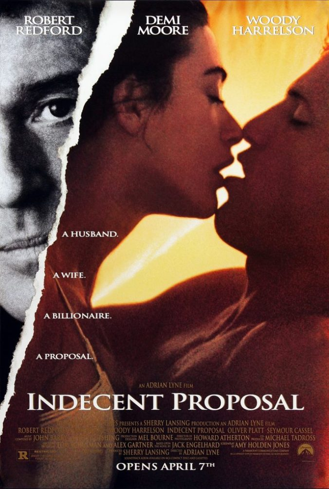The poster for Indecent Proposal showing Moore and Harrelson kissing with Redbord watching