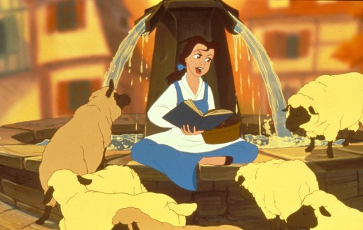 Belle, singing to some sheep