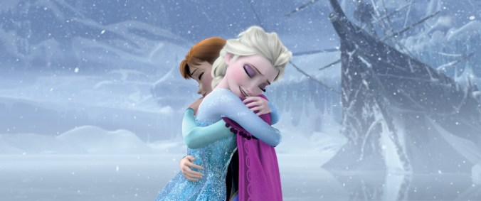 Anna and Elsa hugging at the end of Frozen