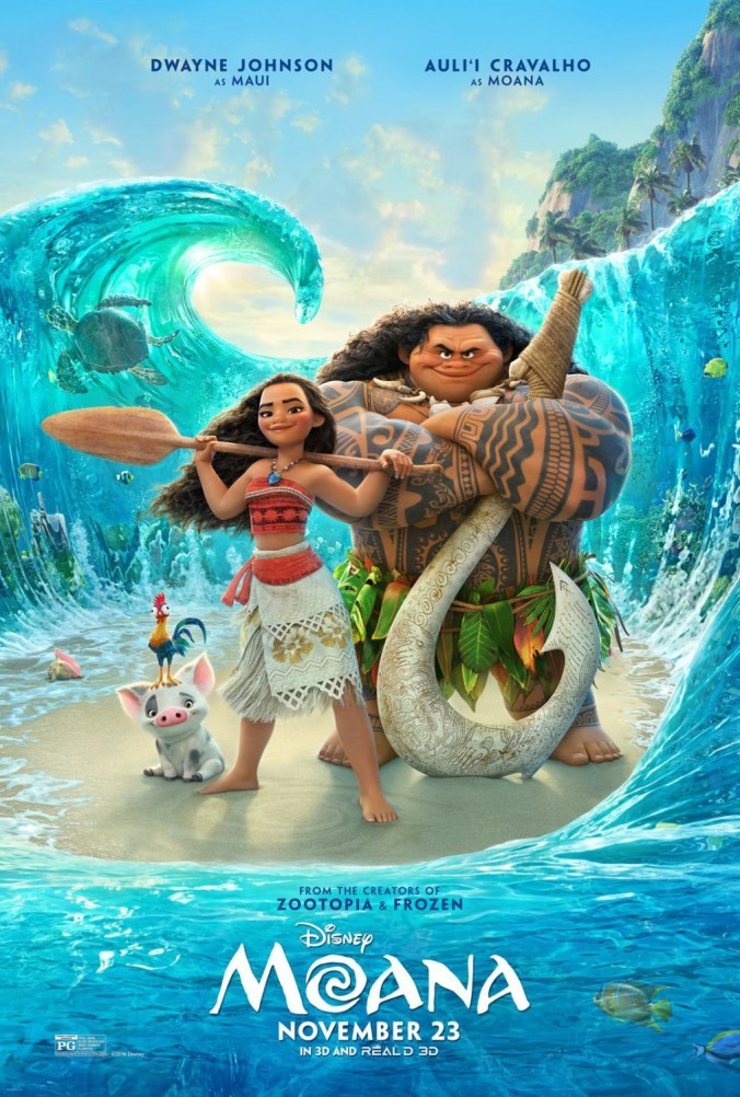 The psoter for Moana, showing Moana and Maui standing in a big wave!
