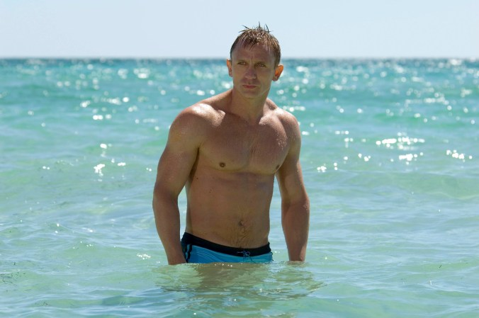 Daniel Craig as Bond in Casino Royale, emerging from the sea in those famous blue shorts