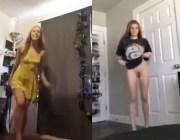 Mulheres peladas pulando de buceta em cima da câmera
