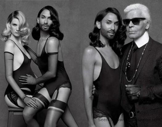Conchita Wurst con embarazada nueva musa de Karl Lagerfeld.