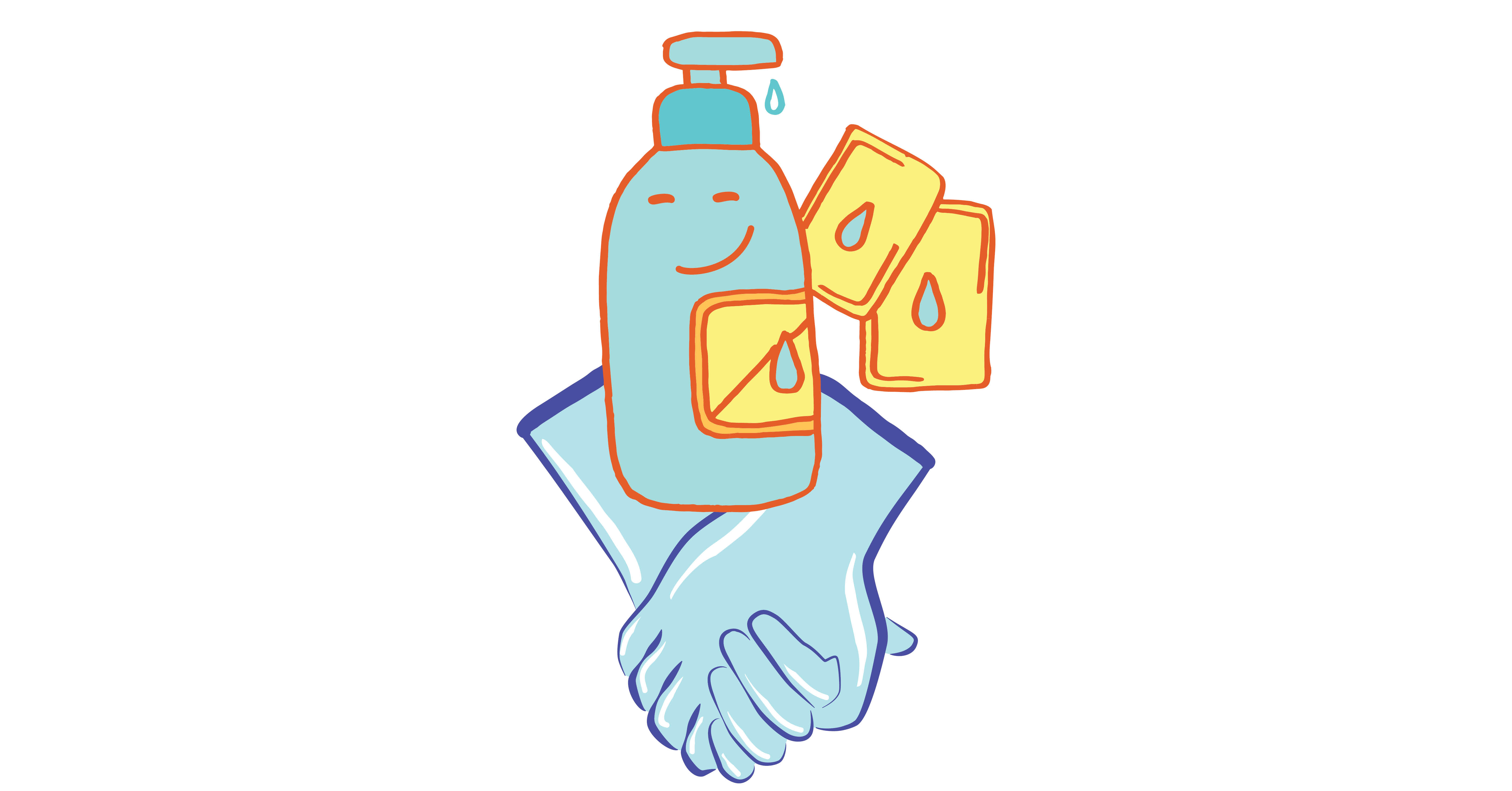 satisfied-looking lube cartoon with safer sex gloves