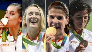 Carolina Marín, Mireia Belmonte, Ruth Beitiay Maialen Chourraut, las cuatro mujeres de oro. (www.rtve.es)