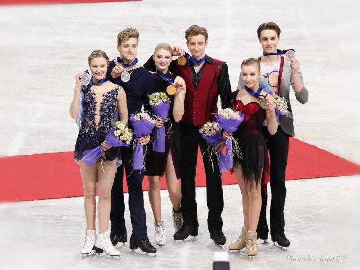 Podio de danza en el Mundial Júnior 2018 en Sofia