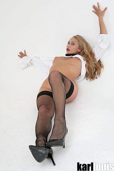 Valery Hilton Shirt and Stockings 03