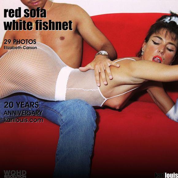 Elizabeth Carson - Red Sofa White Fishnet