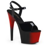 Pleaser ADORE-709 BR two-tone danshakken in zwart en rood