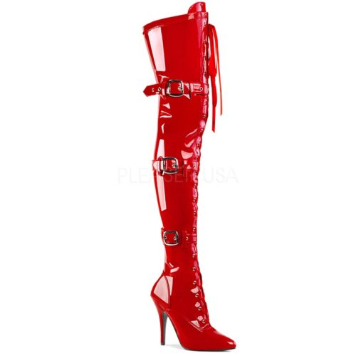 SEDUCE-3028 Red | Rode stretch overkneelaars | Kinky Boots laars