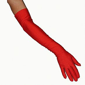 Red Satin Evening Gloves