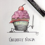 So this concept came after I had a conversation with Marcie and we both figured it would be funny to draw a bunch of characters that would make terrible Ninjas. So far only have this cupcake dude.
