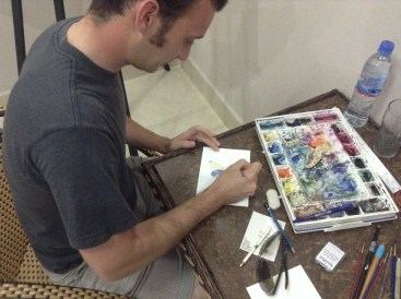 Our friend Timothy and his wife Lacey came for a visit from Thailand. He is an amazing artist. He was showing me some watercolor techniques which immediately made me want to start doing watercolor!!