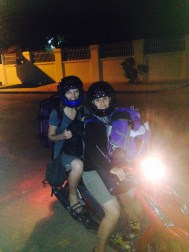 yes i have demon eyes but this is the only picture we got and its worth sharing. Can you SEE how much luggage we had. This is after we arrived in Battambang and rented a moto.