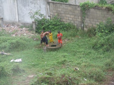 These little kids were using a bucket to get water out of the well and dumping it on themselves. Actually looked super refreshing!
