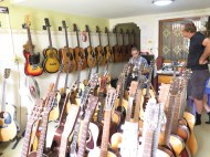 We found this cool shop that sold collectable guitars.