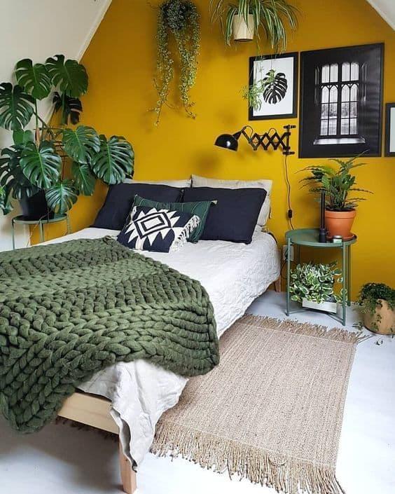 orta yüzyıl modern yatak odası resmi