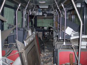 The interior of one of the damaged LRVs that will be rebuilt.