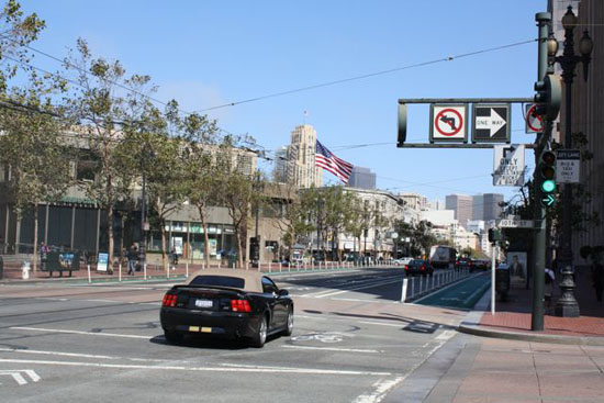 """The """"Lane Closed"""" sign has been removed on Market Street at 10th, and sure enough, drivers see it as an open invitation to violate prohibited right turns."""