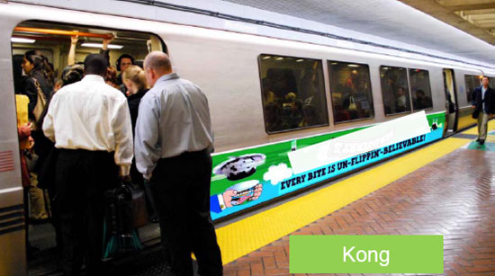 """A partial train wrap, known as a """"Kong,"""" could bring in additional revenue for BART. Image BART."""