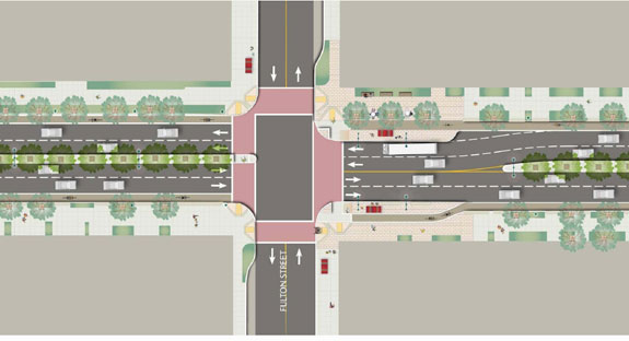 Option C would remove all parking and provide a 6-foot wide cycletrack. Image: SF Planning Department
