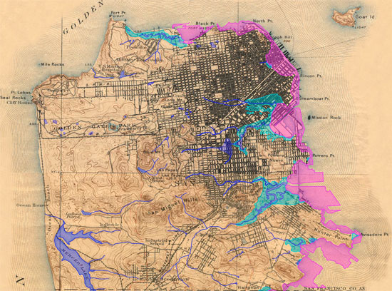 A visualization of the former San Francisco watershed, with street map overlayed.