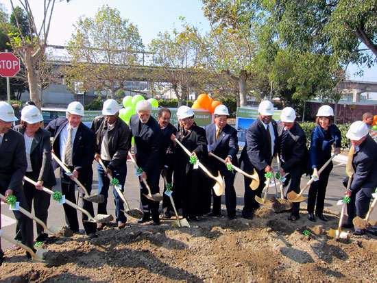 Most of the elected officials in the East Bay (and San Francisco BART Board member James Fang) cast the ceremonial shovels of dirt for the Oakland Airport Connector. Photos: Matthew Roth