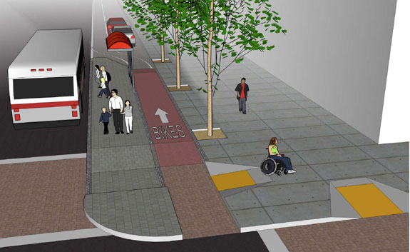 Bus bulb plazas would be included in both options. They were designed to eliminate conflicts between buses and bicyclists and would be a first for San Francisco. Image: SF Planning Department.