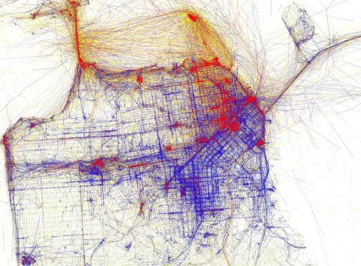 San Francisco, as photographed by locals (blue) and tourists (red). Image: Eric Fischer.