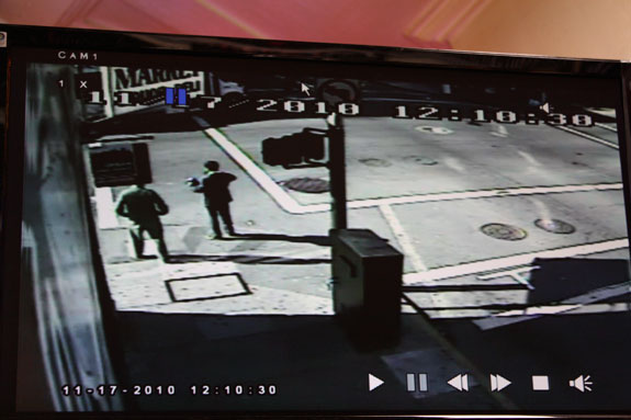 Now official SFPD evidence, this surveillance video shows the front of the bus at the very top of the photo. The arrow points to the woman who was crossing. Photo: Bryan Goebel