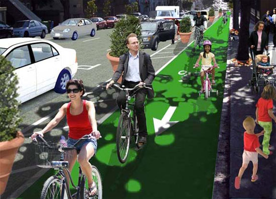 The SFBC's rendering of what a protected bike lane on Fell Street could look like.