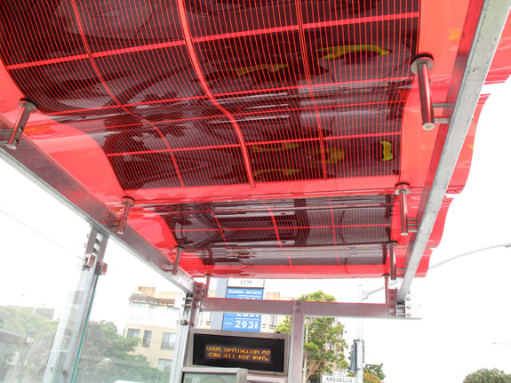 The roof of the solar-enabled shelter at Arguello and Geary