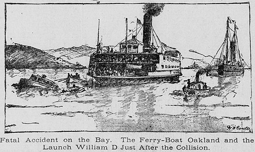 Another Coulter image, this one of the Ferry Oakland that had just collided with a small skiff near Goat Island (now Yerba Buena Island).