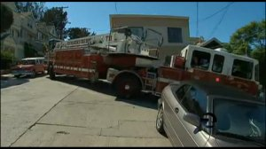 An SFFD truck turns to avoid cars parked at a perpendicular angle, as seen in a ##http://www.ktvu.com/news/news/special-reports/tight-streets/nbKkZ/##KTVU segment## in which the department points fingers at bulb-outs, bike lanes, and medians for slowing them down.