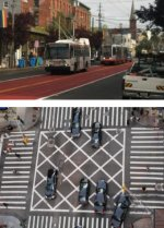Market will have its transit-only lanes will be painted red, and cross-hatched markings will be added to discourage drivers from blocking intersections. Photos via SFMTA