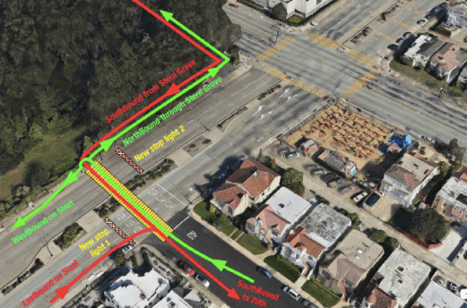 Students proposed splitting the median on Sloat Boulevard to allow pedestrians and cyclists to cross from Stern Grove directly to 20th Avenue, a crucial connector to campus. Photo: Bicycle Geographies.