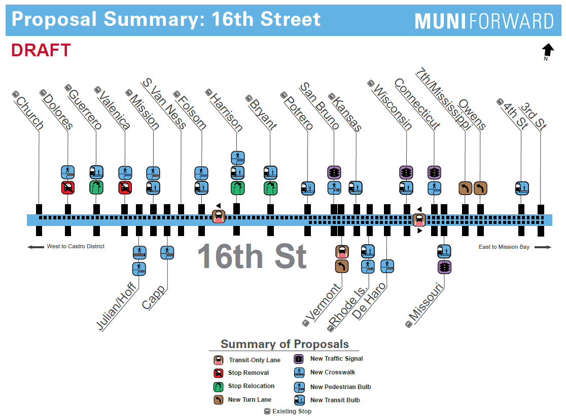 Muni Proposes New Bus Route, Curbside Transit Lanes on 16th ... on samtrans route map, san francisco route map, wrta route map, c-tran route map, ac transit route map,