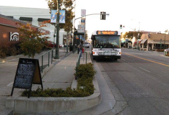 A permanent AC Transit bulb-out recently installed on Webster Street in Alameda. Photo: Aaron Bialick